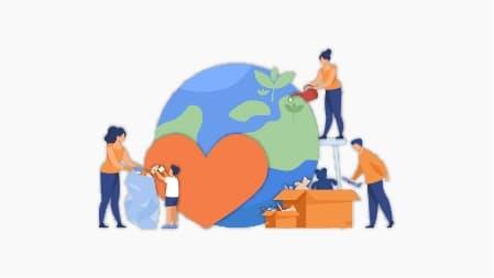 ilustrace pomáhání planetě
